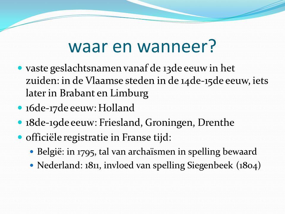tegenstellingen in de spelling namenparen: Cuypers/Kuiper Van Dijck/Van Dijk Claessen/Klaassen Vandenberghe/Van den Berg Verheyen/Verheijen