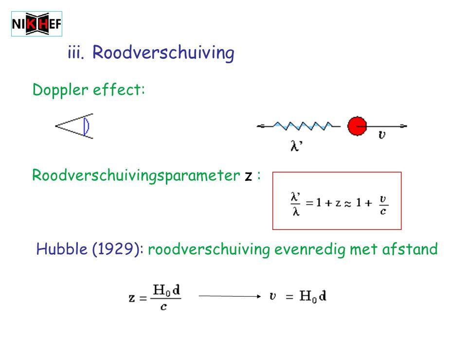 iii. Roodverschuiving Doppler effect: Roodverschuivingsparameter z : Hubble (1929): roodverschuiving evenredig met afstand