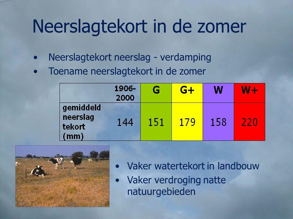 Neerslagtekort neerslag - verdamping Toename neerslagtekort in de zomer Vaker watertekort in landbouw Vaker verdroging natte natuurgebieden Neerslagte