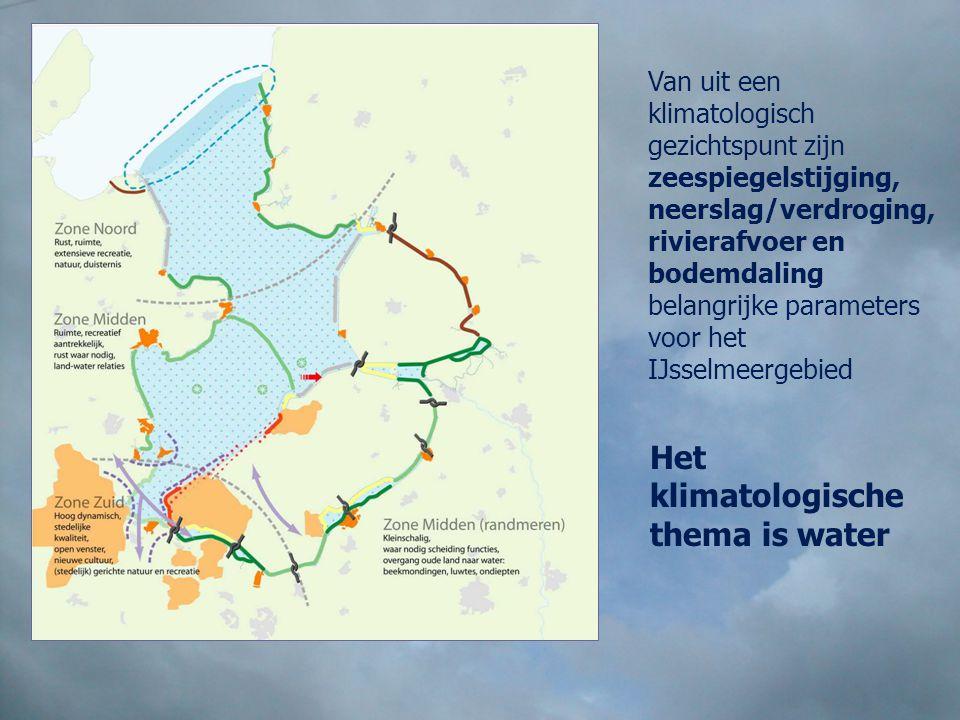 Van uit een klimatologisch gezichtspunt zijn zeespiegelstijging, neerslag/verdroging, rivierafvoer en bodemdaling belangrijke parameters voor het IJss