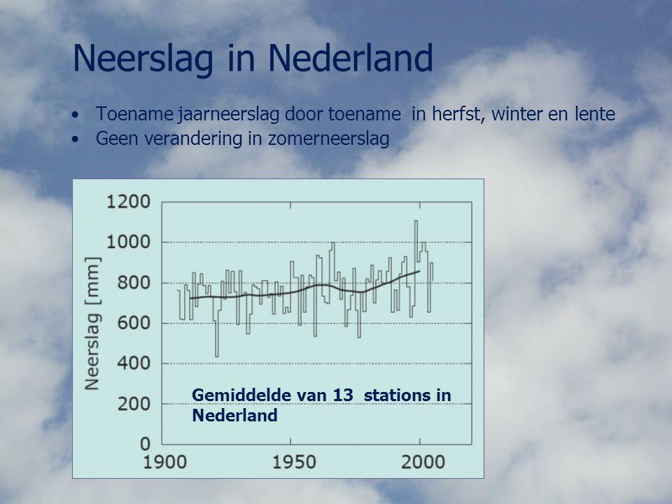 Neerslag in Nederland Toename jaarneerslag door toename in herfst, winter en lente Geen verandering in zomerneerslag Gemiddelde van 13 stations in Ned