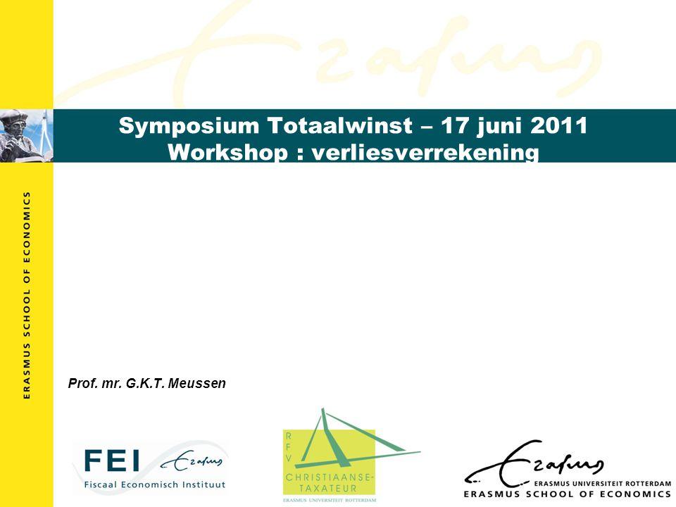 Symposium Totaalwinst – 17 juni 2011 Workshop : verliesverrekening Prof. mr. G.K.T. Meussen