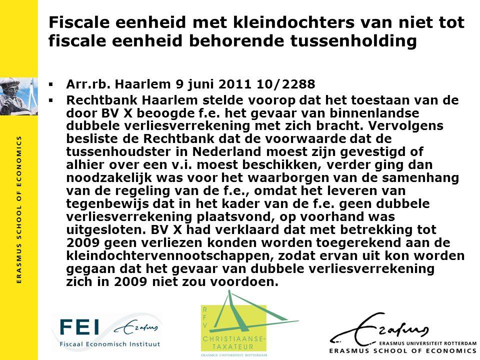 Fiscale eenheid met kleindochters van niet tot fiscale eenheid behorende tussenholding  Arr.rb. Haarlem 9 juni 2011 10/2288  Rechtbank Haarlem steld