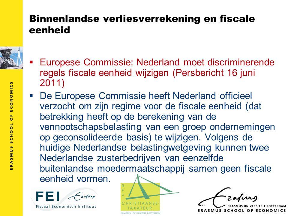 Binnenlandse verliesverrekening en fiscale eenheid  Europese Commissie: Nederland moet discriminerende regels fiscale eenheid wijzigen (Persbericht 1