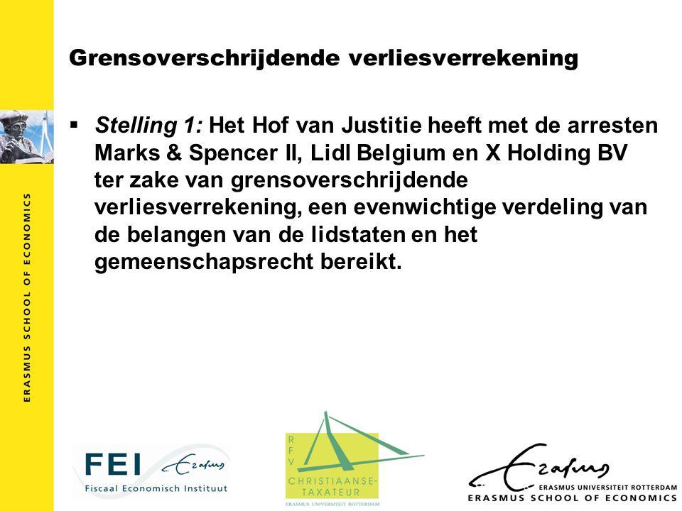 Grensoverschrijdende verliesverrekening  Stelling 1: Het Hof van Justitie heeft met de arresten Marks & Spencer II, Lidl Belgium en X Holding BV ter