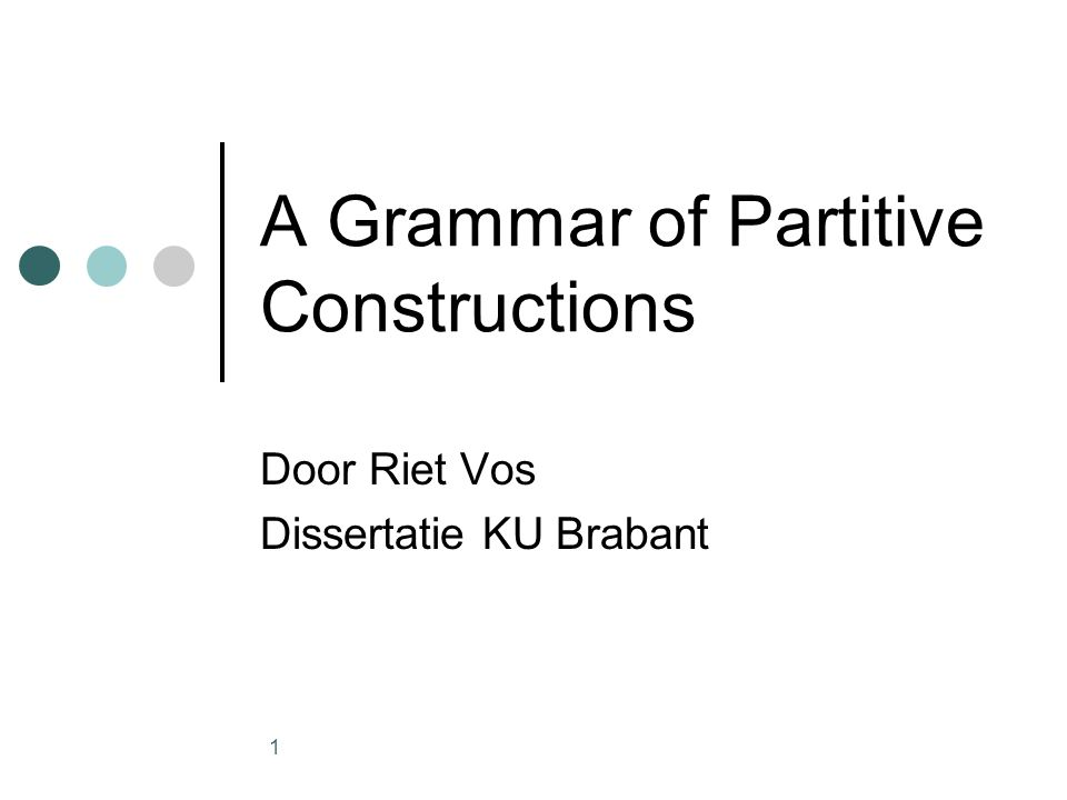 2 onderwerp Quantificational nominal phrases in Dutch, German and Spanish Direct partitive constructions Indirect partitive constructions