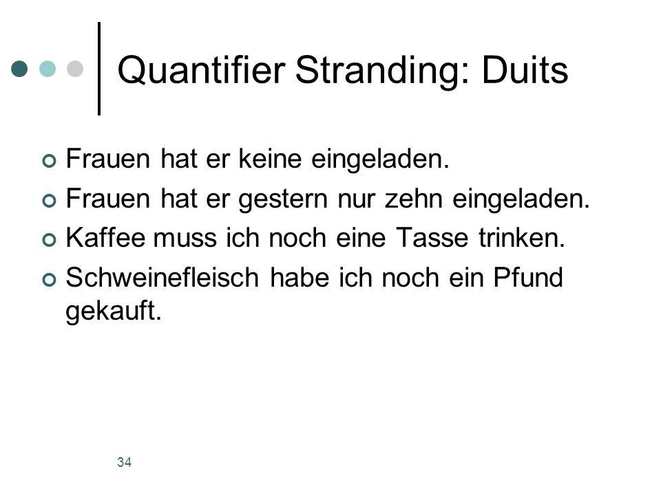 34 Quantifier Stranding: Duits Frauen hat er keine eingeladen.