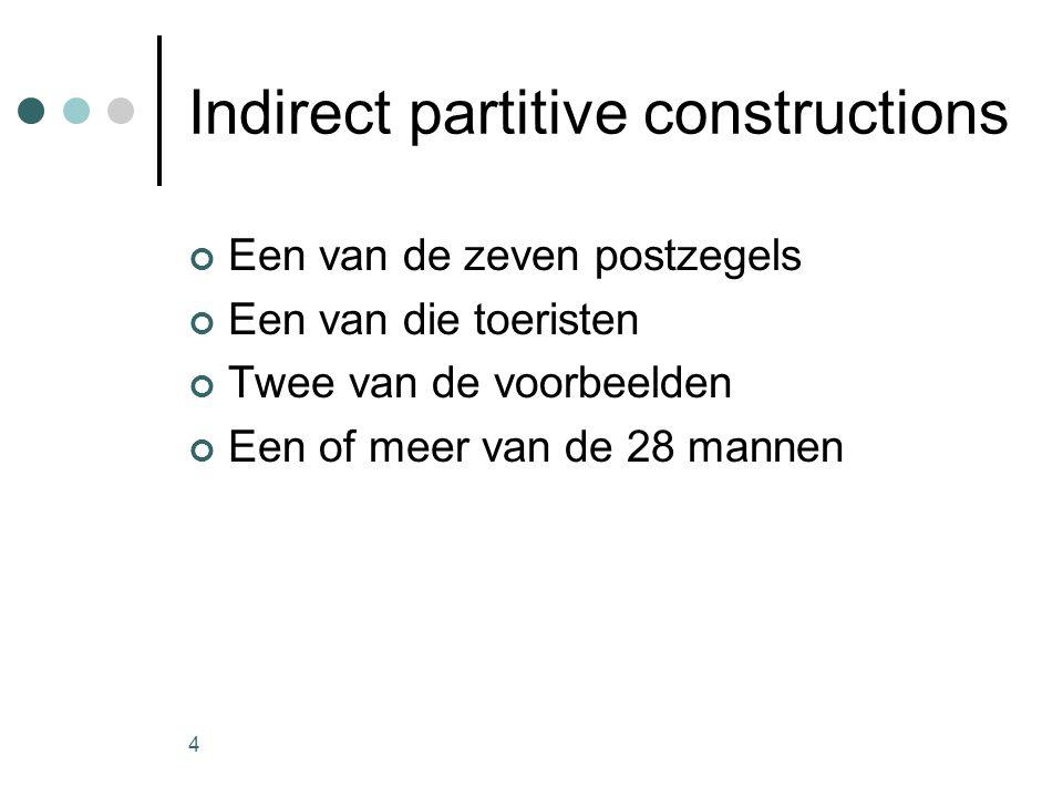 4 Indirect partitive constructions Een van de zeven postzegels Een van die toeristen Twee van de voorbeelden Een of meer van de 28 mannen