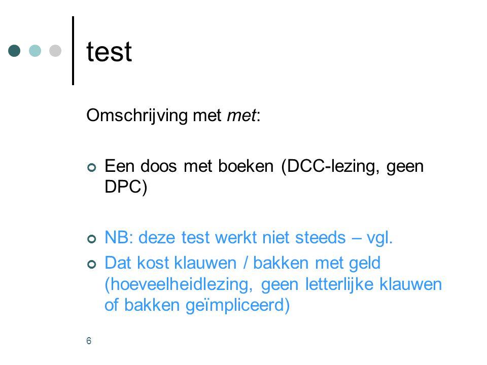 6 test Omschrijving met met: Een doos met boeken (DCC-lezing, geen DPC) NB: deze test werkt niet steeds – vgl.