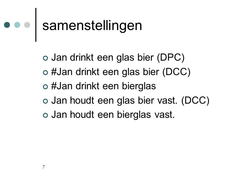 7 samenstellingen Jan drinkt een glas bier (DPC) #Jan drinkt een glas bier (DCC) #Jan drinkt een bierglas Jan houdt een glas bier vast.