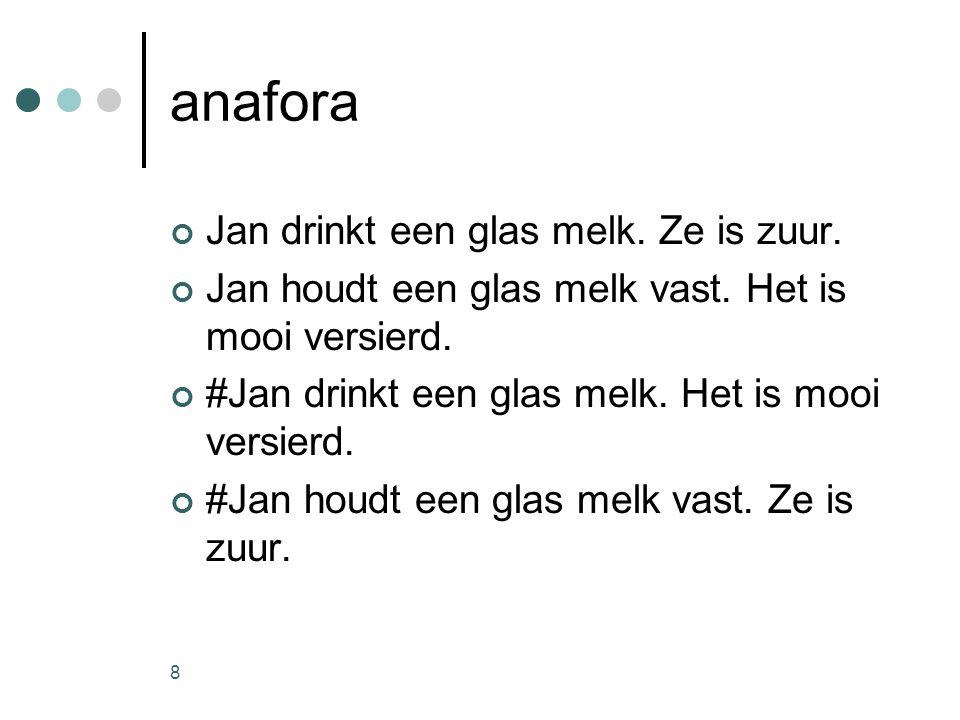 8 anafora Jan drinkt een glas melk. Ze is zuur. Jan houdt een glas melk vast.
