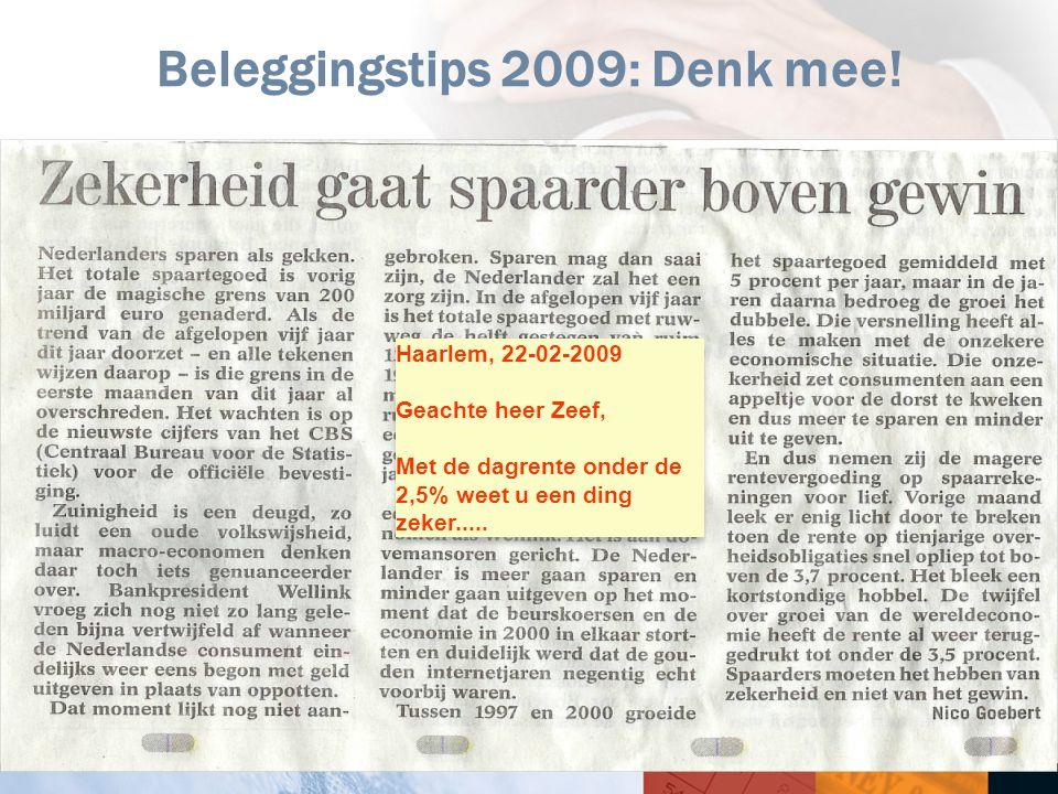 24 Beleggingstips 2009: Denk mee! Haarlem, 22-02-2009 Geachte heer Zeef, Met de dagrente onder de 2,5% weet u een ding zeker..... Haarlem, 22-02-2009