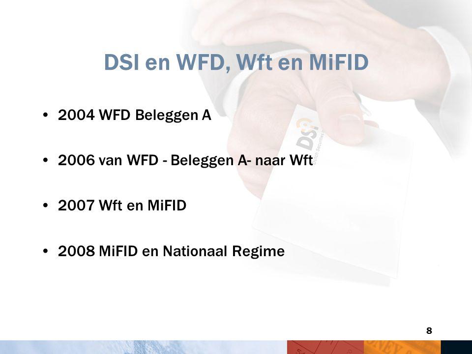 8 DSI en WFD, Wft en MiFID 2004 WFD Beleggen A 2006 van WFD - Beleggen A- naar Wft 2007 Wft en MiFID 2008 MiFID en Nationaal Regime