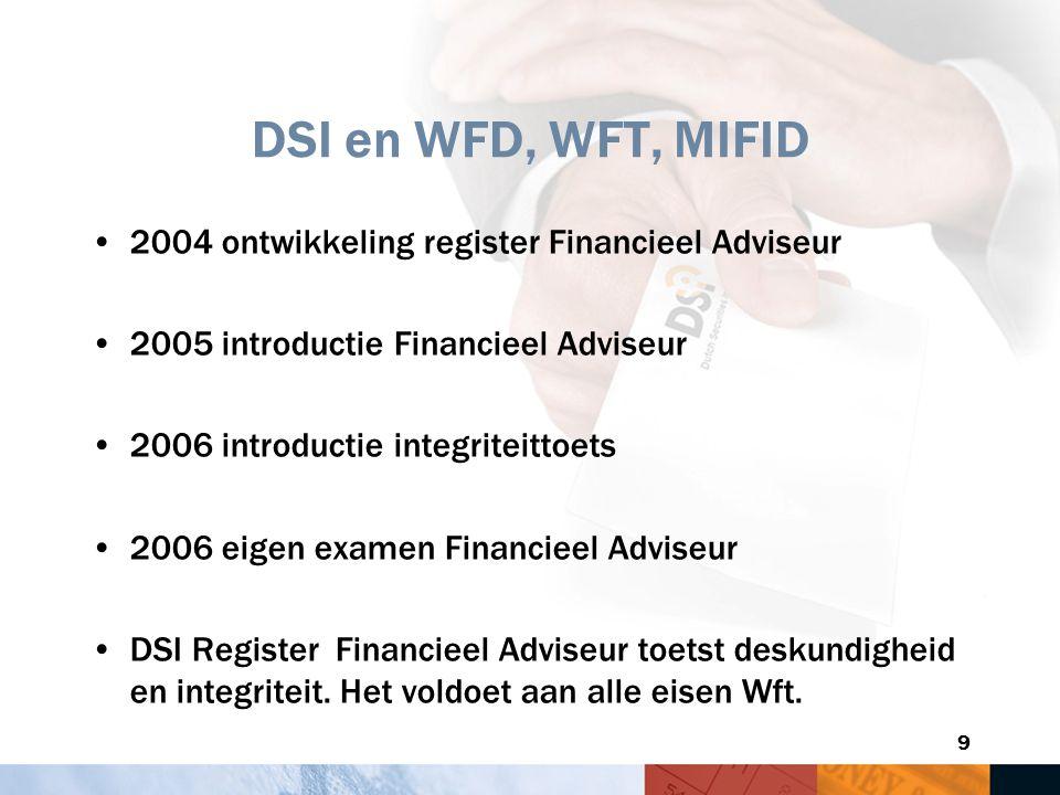 9 DSI en WFD, WFT, MIFID 2004 ontwikkeling register Financieel Adviseur 2005 introductie Financieel Adviseur 2006 introductie integriteittoets 2006 ei