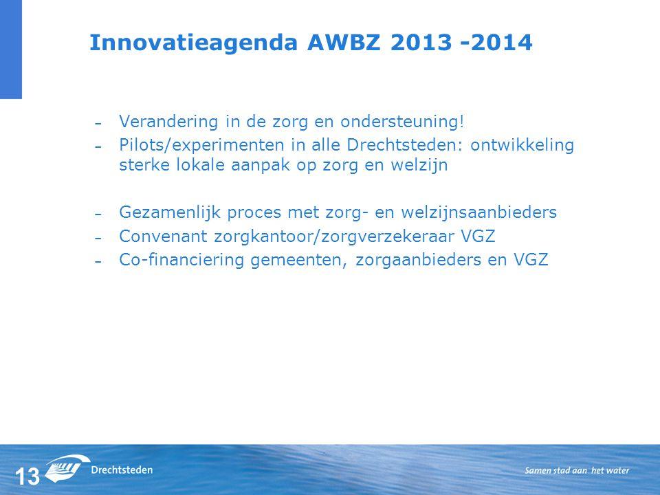 13 Innovatieagenda AWBZ 2013 -2014 – Verandering in de zorg en ondersteuning.