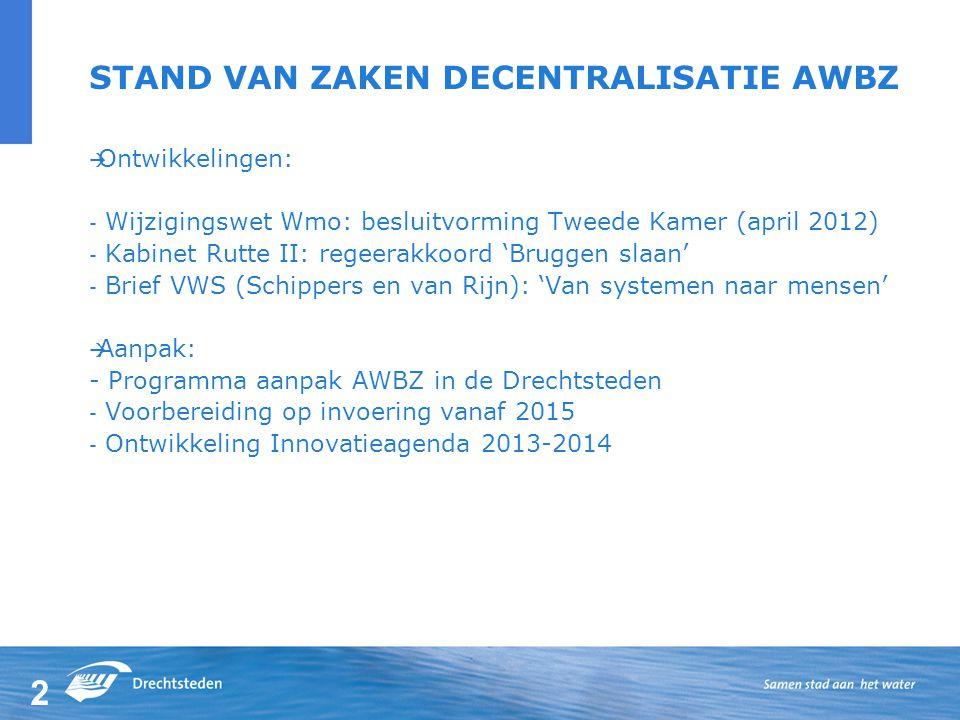2 STAND VAN ZAKEN DECENTRALISATIE AWBZ  Ontwikkelingen: - Wijzigingswet Wmo: besluitvorming Tweede Kamer (april 2012) - Kabinet Rutte II: regeerakkoord 'Bruggen slaan' - Brief VWS (Schippers en van Rijn): 'Van systemen naar mensen'  Aanpak: - Programma aanpak AWBZ in de Drechtsteden - Voorbereiding op invoering vanaf 2015 - Ontwikkeling Innovatieagenda 2013-2014