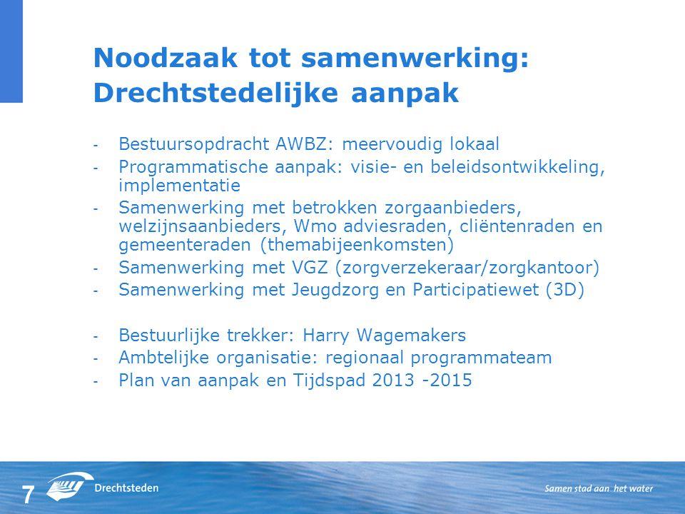 7 Noodzaak tot samenwerking: Drechtstedelijke aanpak - Bestuursopdracht AWBZ: meervoudig lokaal - Programmatische aanpak: visie- en beleidsontwikkeling, implementatie - Samenwerking met betrokken zorgaanbieders, welzijnsaanbieders, Wmo adviesraden, cliëntenraden en gemeenteraden (themabijeenkomsten) - Samenwerking met VGZ (zorgverzekeraar/zorgkantoor) - Samenwerking met Jeugdzorg en Participatiewet (3D) - Bestuurlijke trekker: Harry Wagemakers - Ambtelijke organisatie: regionaal programmateam - Plan van aanpak en Tijdspad 2013 -2015