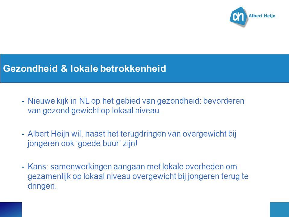 Gezondheid & lokale betrokkenheid -Nieuwe kijk in NL op het gebied van gezondheid: bevorderen van gezond gewicht op lokaal niveau. -Albert Heijn wil,