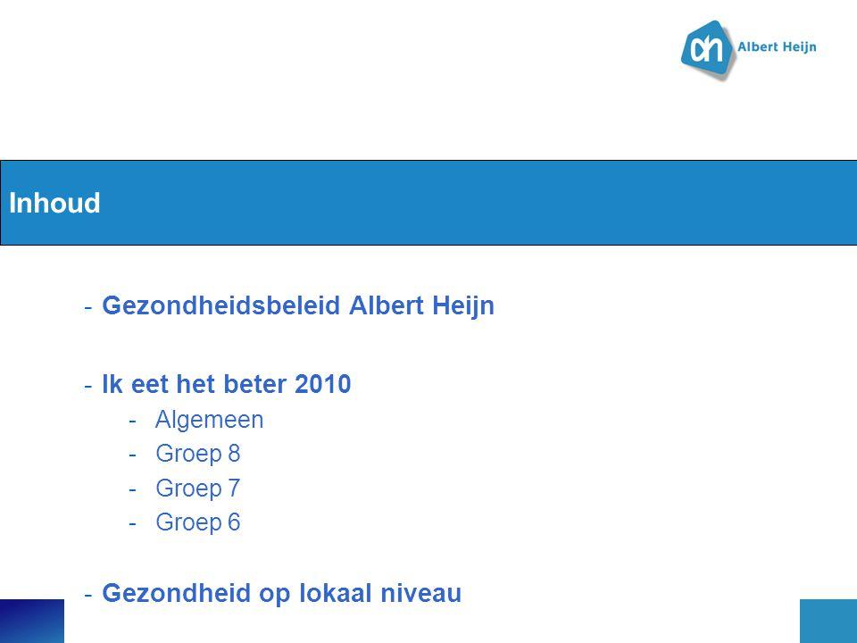 Inhoud -Gezondheidsbeleid Albert Heijn -Ik eet het beter 2010 -Algemeen -Groep 8 -Groep 7 -Groep 6 -Gezondheid op lokaal niveau