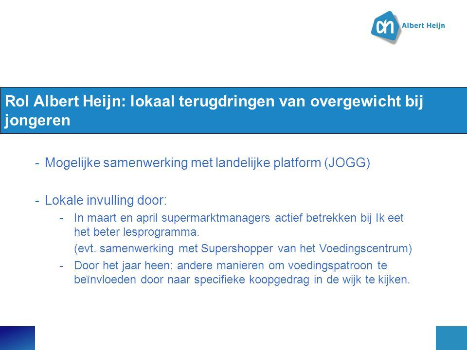 Rol Albert Heijn: lokaal terugdringen van overgewicht bij jongeren -Mogelijke samenwerking met landelijke platform (JOGG) -Lokale invulling door: -In