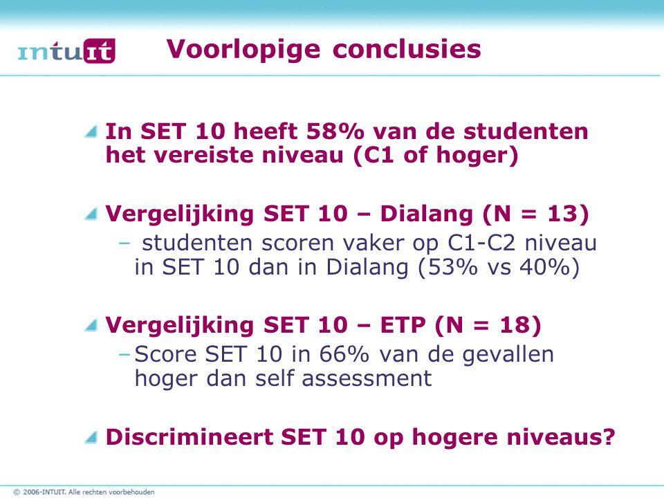 Voorlopige conclusies In SET 10 heeft 58% van de studenten het vereiste niveau (C1 of hoger) Vergelijking SET 10 – Dialang (N = 13) – studenten scoren vaker op C1-C2 niveau in SET 10 dan in Dialang (53% vs 40%) Vergelijking SET 10 – ETP (N = 18) –Score SET 10 in 66% van de gevallen hoger dan self assessment Discrimineert SET 10 op hogere niveaus?