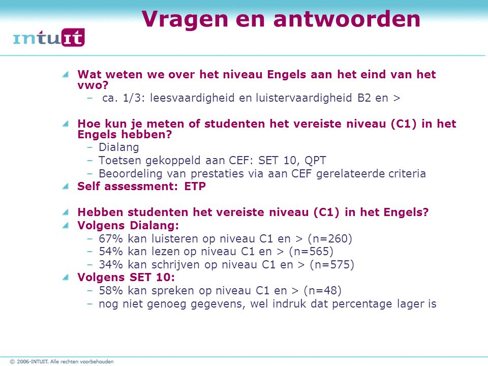Vragen en antwoorden Wat weten we over het niveau Engels aan het eind van het vwo.