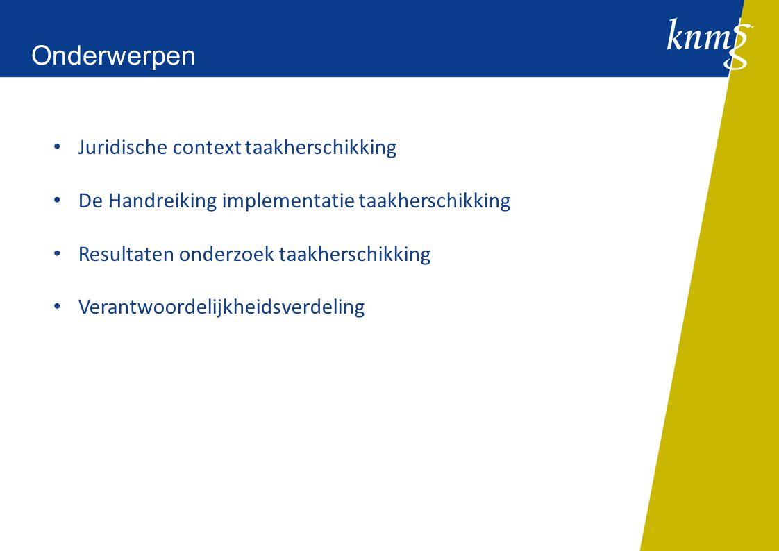 Juridische context taakherschikking De Handreiking implementatie taakherschikking Resultaten onderzoek taakherschikking Verantwoordelijkheidsverdeling