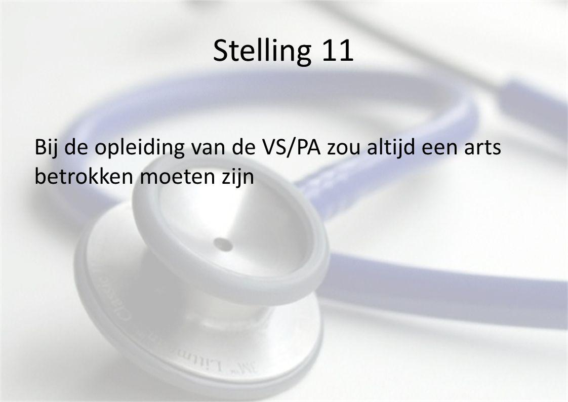 Stelling 11 Bij de opleiding van de VS/PA zou altijd een arts betrokken moeten zijn