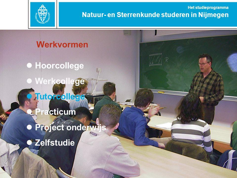 Natuur- en Sterrenkunde studeren in Nijmegen Het studieprogramma Werkvormen Hoorcollege Werkcollege Tutorcollege Practicum Project onderwijs Zelfstudi