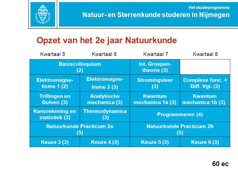 Opzet van het 2e jaar Natuurkunde Natuur- en Sterrenkunde studeren in Nijmegen Het studieprogramma Kwartaal 5Kwartaal 6Kwartaal 7Kwartaal 8 Basiscollo