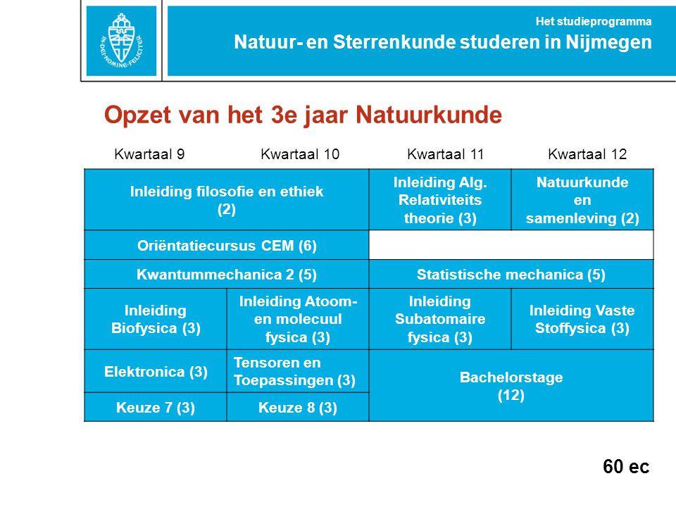 Opzet van het 3e jaar Natuurkunde Natuur- en Sterrenkunde studeren in Nijmegen Het studieprogramma Kwartaal 9Kwartaal 10Kwartaal 11Kwartaal 12 Inleidi