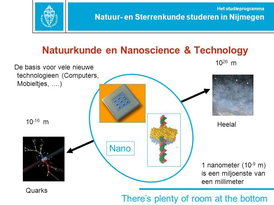 Natuurkunde en Nanoscience & Technology Quarks 10 -16 m Heelal 10 26 m There's plenty of room at the bottom De basis voor vele nieuwe technologieen (C