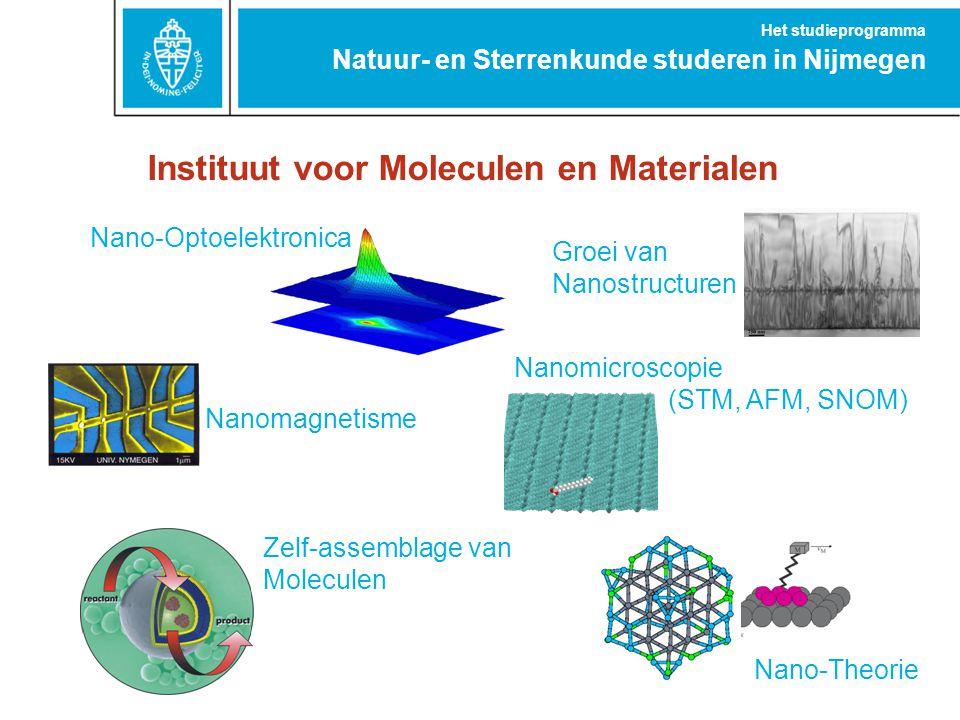 Instituut voor Moleculen en Materialen Nano-Theorie Nano-Optoelektronica Nanomagnetisme Nanomicroscopie (STM, AFM, SNOM) Groei van Nanostructuren Zelf