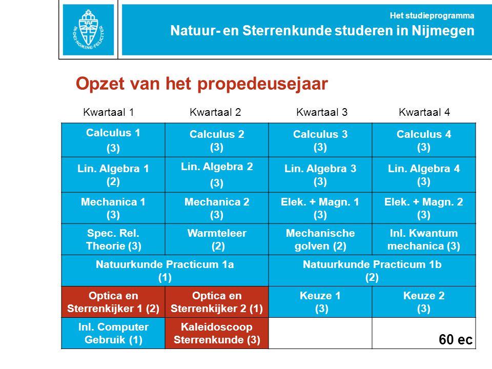 Opzet van het propedeusejaar Natuur- en Sterrenkunde studeren in Nijmegen Het studieprogramma Kwartaal 1Kwartaal 2Kwartaal 3Kwartaal 4 Calculus 1 (3)