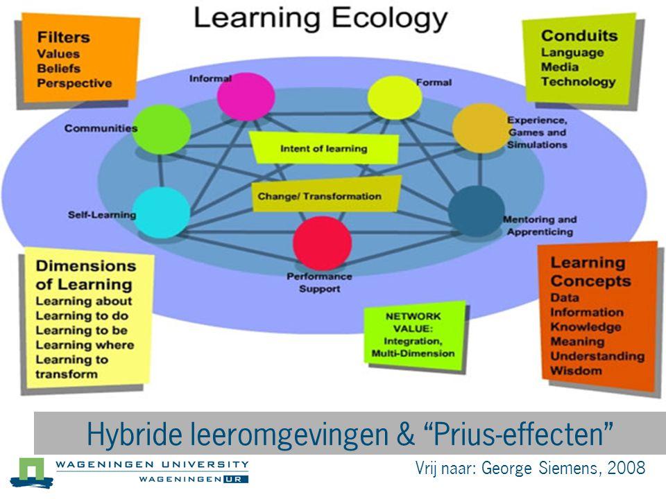 """Vrij naar: George Siemens, 2008 Hybride leeromgevingen & """"Prius-effecten"""""""