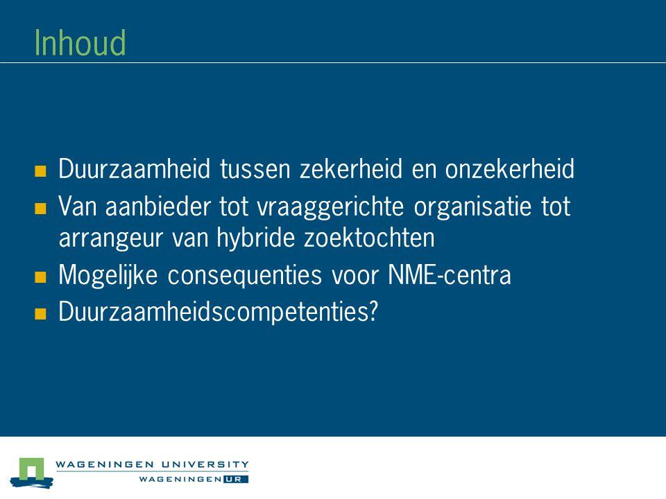 Inhoud Duurzaamheid tussen zekerheid en onzekerheid Van aanbieder tot vraaggerichte organisatie tot arrangeur van hybride zoektochten Mogelijke conseq