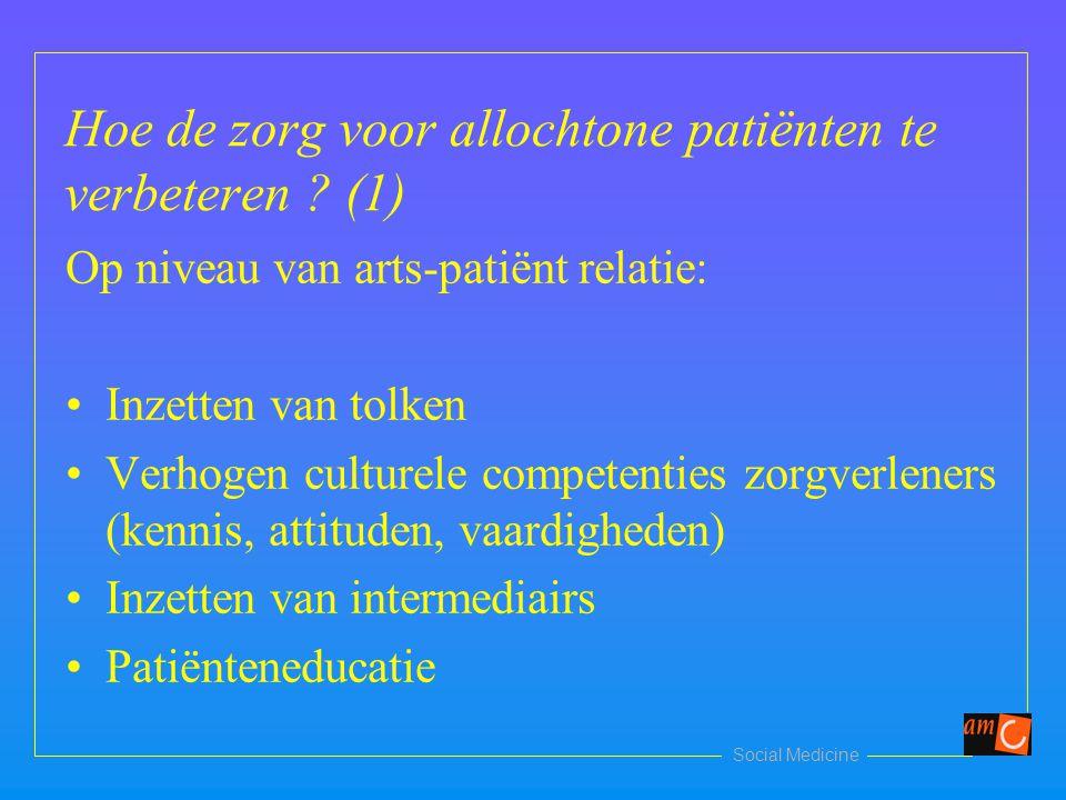 Hoe de zorg voor allochtone patiënten te verbeteren ? (1) Op niveau van arts-patiënt relatie: Inzetten van tolken Verhogen culturele competenties zorg