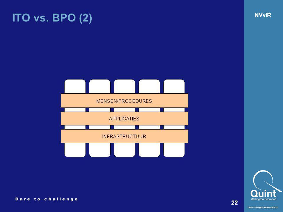 Quint Wellington Redwood ©2002 22 NVvIR ITO vs. BPO (2) APPLICATIES MENSEN/PROCEDURES INFRASTRUCTUUR