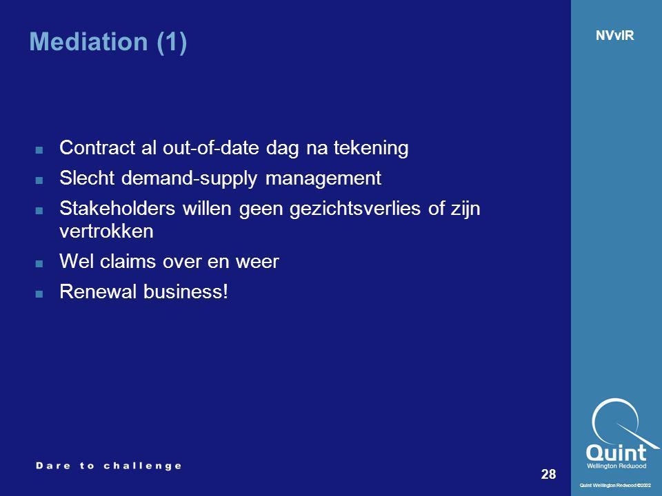 Quint Wellington Redwood ©2002 28 NVvIR Mediation (1) Contract al out-of-date dag na tekening Slecht demand-supply management Stakeholders willen geen