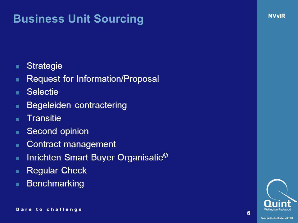 Quint Wellington Redwood ©2002 6 NVvIR Business Unit Sourcing Strategie Request for Information/Proposal Selectie Begeleiden contractering Transitie S