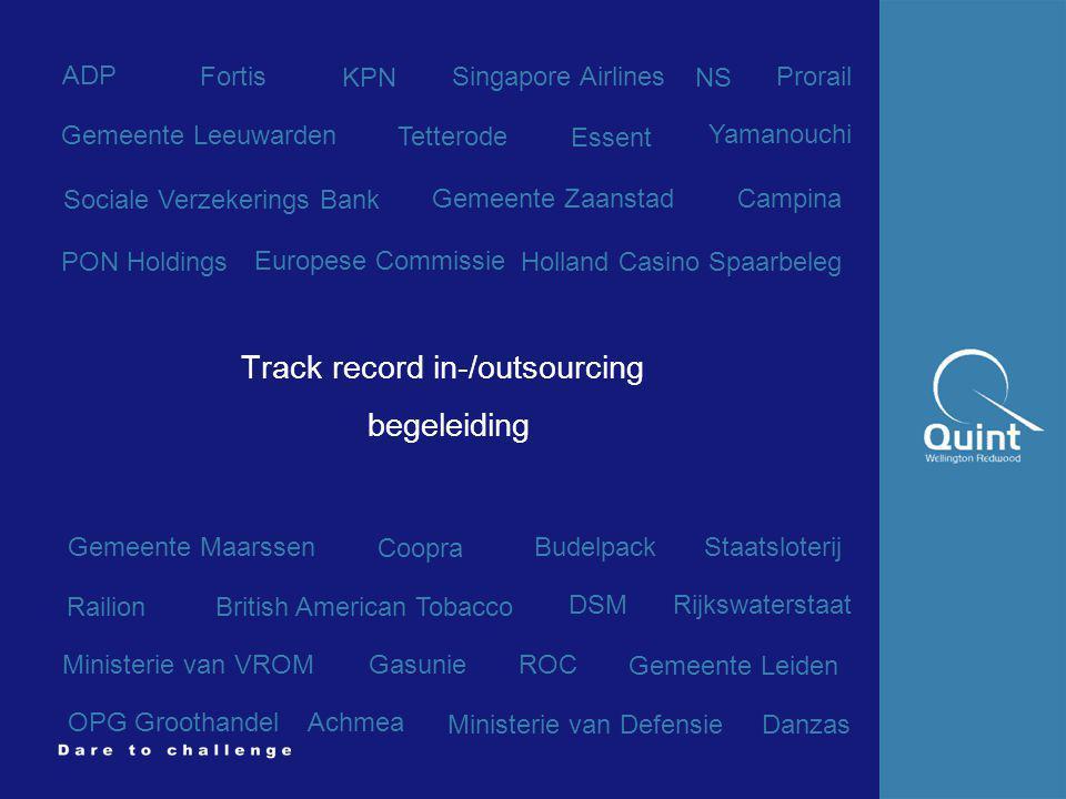 Quint Wellington Redwood ©2002 7 NVvIR Track record in-/outsourcing begeleiding Gemeente Zaanstad Holland Casino Spaarbeleg Fortis Ministerie van VROM