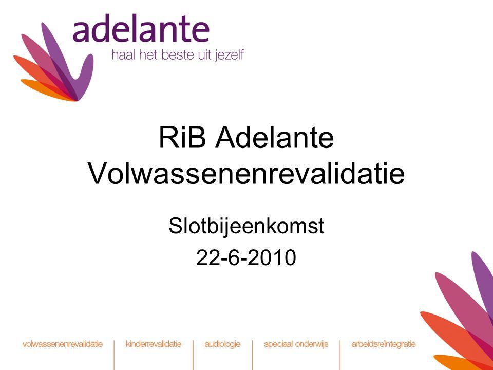RiB Adelante Volwassenenrevalidatie Slotbijeenkomst 22-6-2010