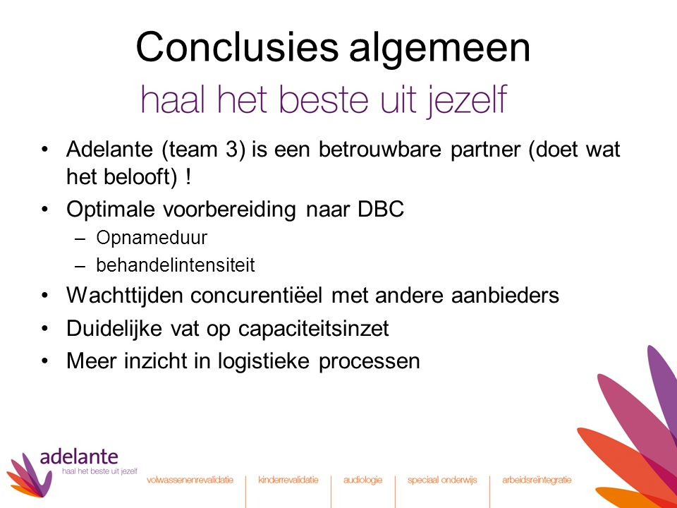 Conclusies algemeen Adelante (team 3) is een betrouwbare partner (doet wat het belooft) ! Optimale voorbereiding naar DBC –Opnameduur –behandelintensi