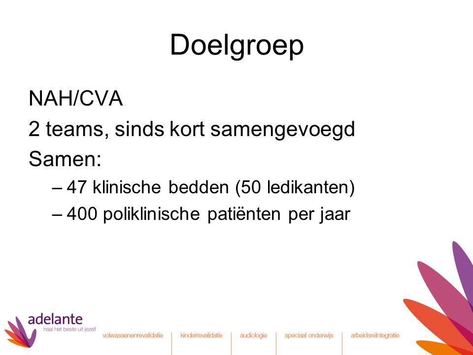 Doelgroep NAH/CVA 2 teams, sinds kort samengevoegd Samen: –47 klinische bedden (50 ledikanten) –400 poliklinische patiënten per jaar