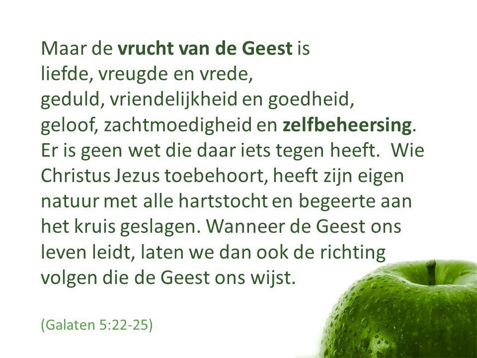 Maar de vrucht van de Geest is liefde, vreugde en vrede, geduld, vriendelijkheid en goedheid, geloof, zachtmoedigheid en zelfbeheersing. Er is geen we