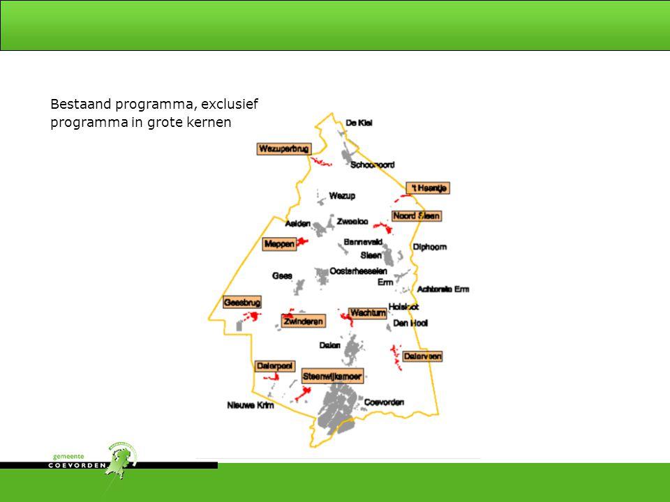 Bestaand programma, exclusief programma in grote kernen