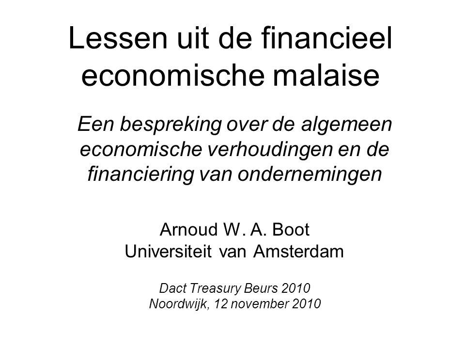 Lessen uit de financieel economische malaise Een bespreking over de algemeen economische verhoudingen en de financiering van ondernemingen Arnoud W.