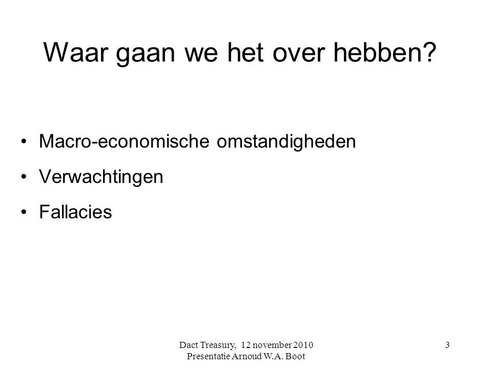 3 Waar gaan we het over hebben? Macro-economische omstandigheden Verwachtingen Fallacies Dact Treasury, 12 november 2010 Presentatie Arnoud W.A. Boot
