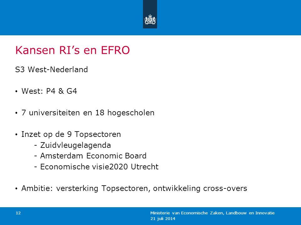 Kansen RI's en EFRO S3 West-Nederland West: P4 & G4 7 universiteiten en 18 hogescholen Inzet op de 9 Topsectoren -Zuidvleugelagenda -Amsterdam Economi