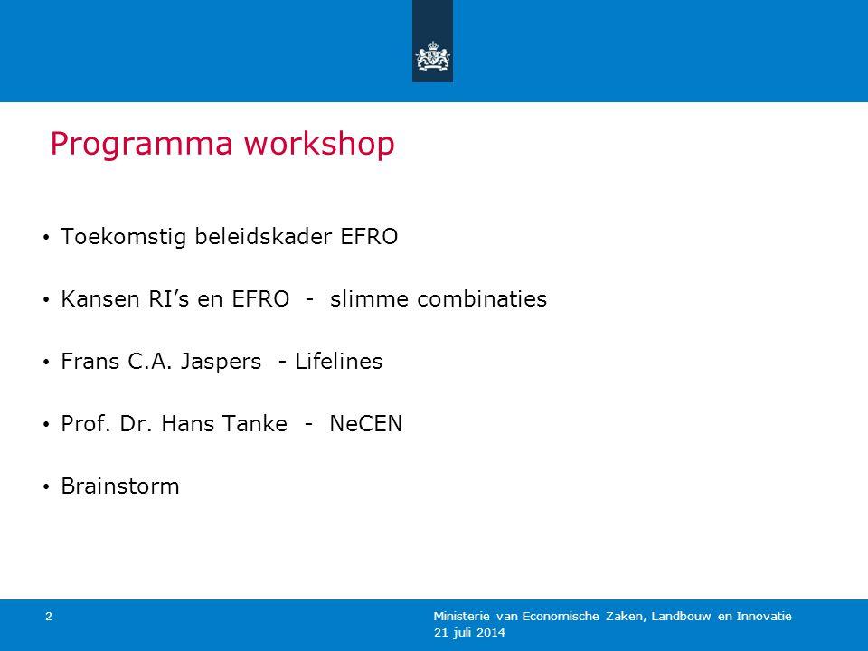 Programma workshop Toekomstig beleidskader EFRO Kansen RI's en EFRO - slimme combinaties Frans C.A. Jaspers - Lifelines Prof. Dr. Hans Tanke - NeCEN B